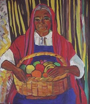 Mexican Woman w/ Basket of Flowers