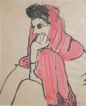 Woman in Red Scarf